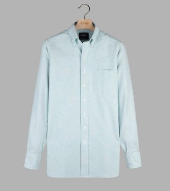 Light Green Cotton Oxford Cloth Button-Down Shirt