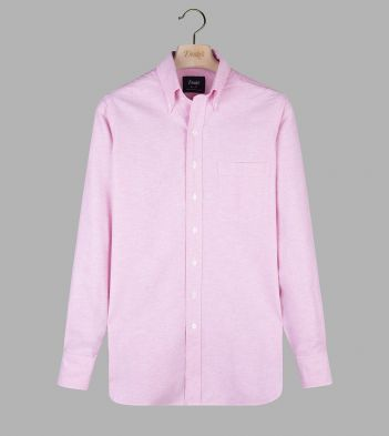 Dark Pink Cotton Oxford Cloth Button-Down Shirt