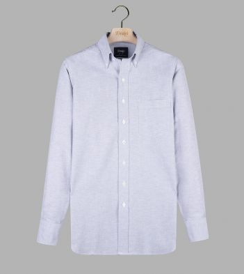 Grey Cotton Oxford Cloth Button-Down Shirt