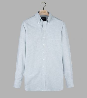 Green Cotton Oxford Cloth Button-Down Shirt