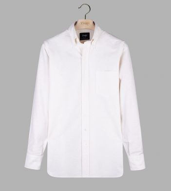Cream Cotton Oxford Cloth Button-Down Shirt