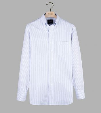 Light Blue Ticking Stripe Cotton Oxford Cloth Button-Down Shirt