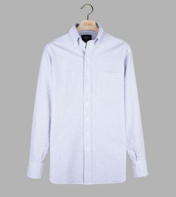 Blue Ticking Stripe Cotton Oxford Cloth Button-Down Shirt