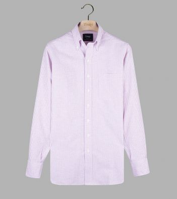 Magenta Ticking Stripe Cotton Oxford Cloth Button-Down Shirt