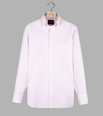 Pale Pink Ticking Stripe Cotton Oxford Cloth Button-Down Shirt