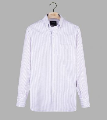 Lilac Ticking Stripe Cotton Oxford Cloth Button-Down Shirt