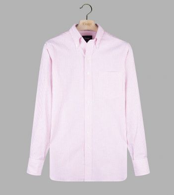 Pink Ticking Stripe Cotton Oxford Cloth Button-Down Shirt