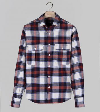 Ecru and Red Check Cotton Twill Two-Pocket Work Shirt