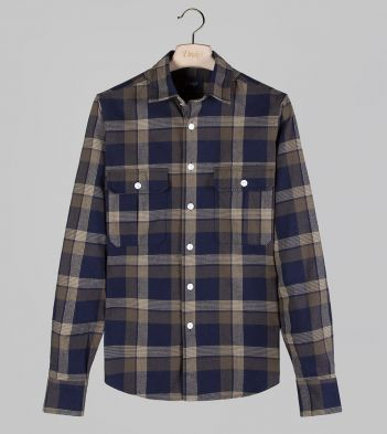 Blue and Green Check Brushed Cotton Two-Pocket Work Shirt