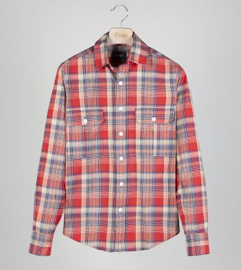 Red and Yellow Check Cotton Two-Pocket Work Shirt