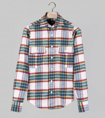 Cream and Blue Check Brushed Cotton Two-Pocket Work Shirt