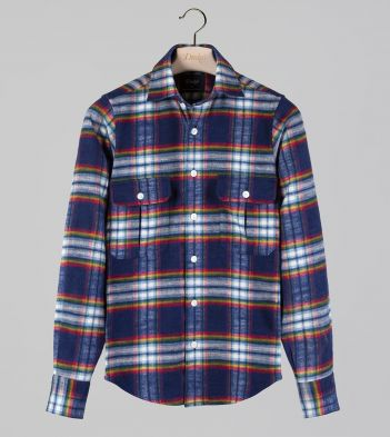 Navy and Red Check Brushed Cotton Two-Pocket Work Shirt