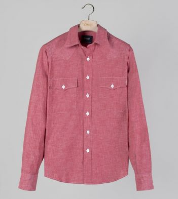 Red Cotton Chambray Two-Pocket Western Shirt