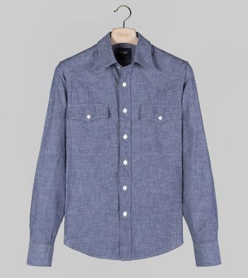 Blue Cotton Chambray Two-Pocket Western Shirt