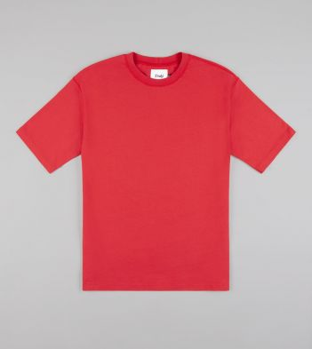Washed Red Cotton Crew Neck Hiking T-Shirt