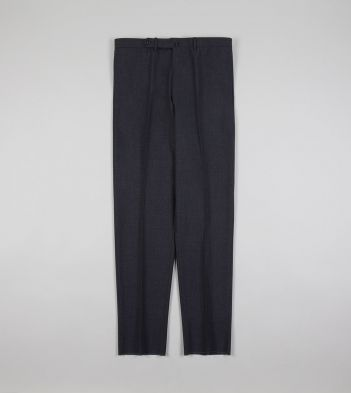 Grey Tropical Wool Flat Front Trouser