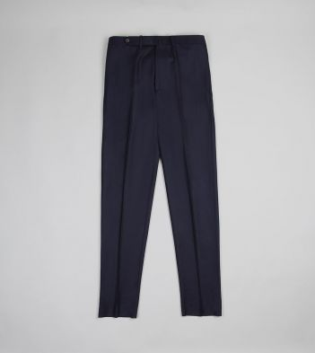 Navy Wool Flannel Flat Front Trousers