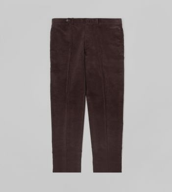 Brown Mid-Wale Corduroy Flat Front Trouser