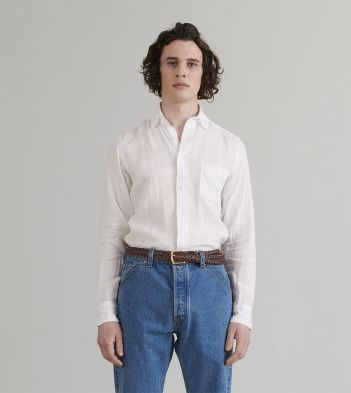 White Japanese Linen Spread Collar Shirt