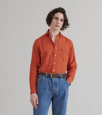 Orange Japanese Linen Spread Collar Shirt