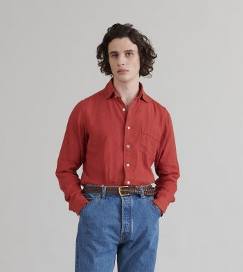 Red Japanese Linen Spread Collar Shirt