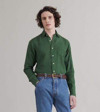 Dark Green Japanese Linen Spread Collar Shirt