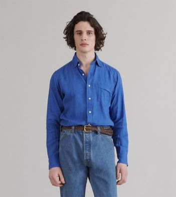 Blue Japanese Linen Spread Collar Shirt