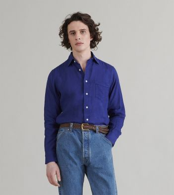 Royal Blue Japanese Linen Spread Collar Shirt