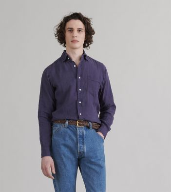 Indigo Japanese Linen Spread Collar Shirt