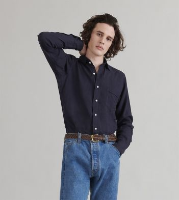 Navy Japanese Linen Spread Collar Shirt