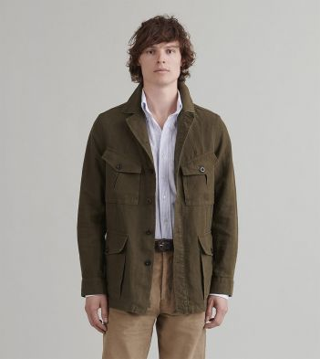 Olive Linen Games Tunic Jacket