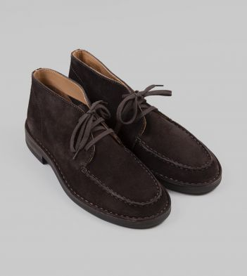 Crosby Moc-Toe Chukka Boot Dark Brown Roughout Suede with Rubber Sole