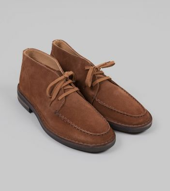 Crosby Moc-Toe Chukka Boot Light Brown Roughout Suede with Rubber Sole