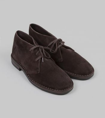 Clifford Desert Boot Dark Brown Roughout Suede with Rubber Sole