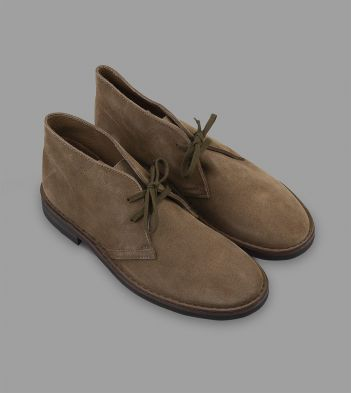 Clifford Desert Boot Pale Khaki Roughout Suede with Rubber Sole