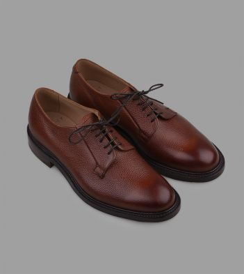 Cheaney for Drake's Whiskey Grain Leather Plain Toe Derby Shoe