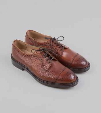 Cheaney for Drake's Whiskey Grain Leather Brogued Cap-Toe Derby Shoe