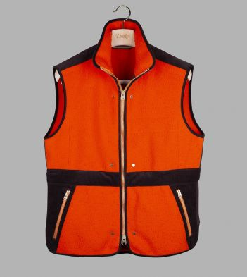 Orange Casentino Wool Fleece Gilet