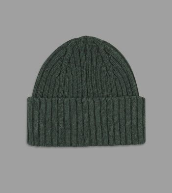 Aimé Leon Dore for Drake's Green Ribbed Knit Lambswool Beanie