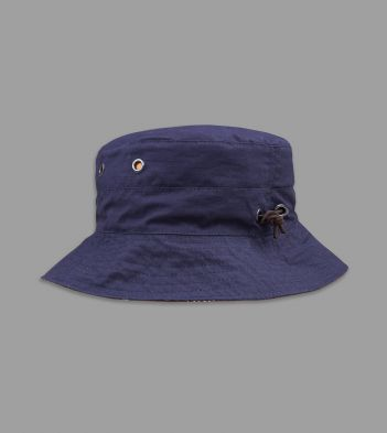 Navy and Brown Mughal Print Lining Cotton Bucket Hat