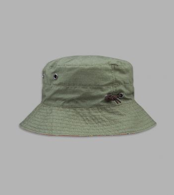 Khaki and Orange Mughal Print Lining Cotton Bucket Hat