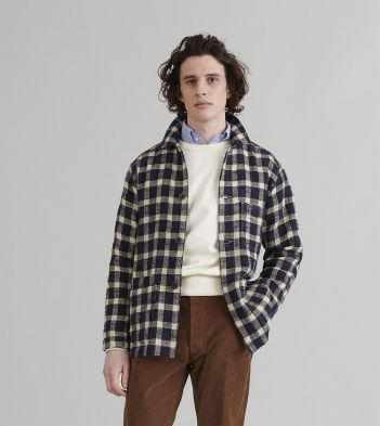 Navy and White Tablecloth Check Linen-Cotton Five-Pocket Chore Jacket