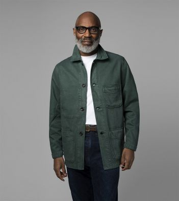 Green Tencel-Cotton Five-Pocket Chore Jacket