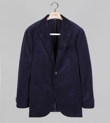 Navy Mid-Wale Cotton Corduroy Tailored Jacket