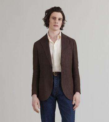 Brown Herringbone Linen-Silk Jacket