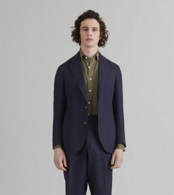 Navy Linen Tailored Jacket