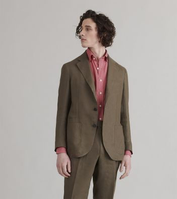 Olive Linen Tailored Jacket
