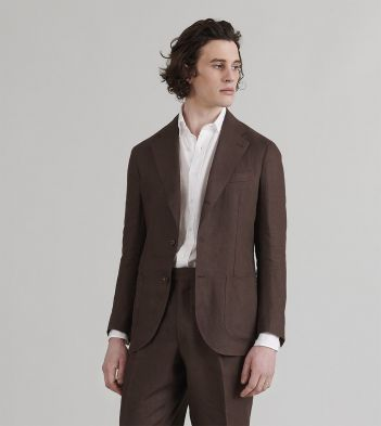 Brown Linen Tailored Jacket