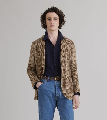 Taupe and Green Houndstooth Linen-Silk Jacket