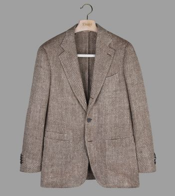 Natural Large Herringbone Linen-Silk Jacket